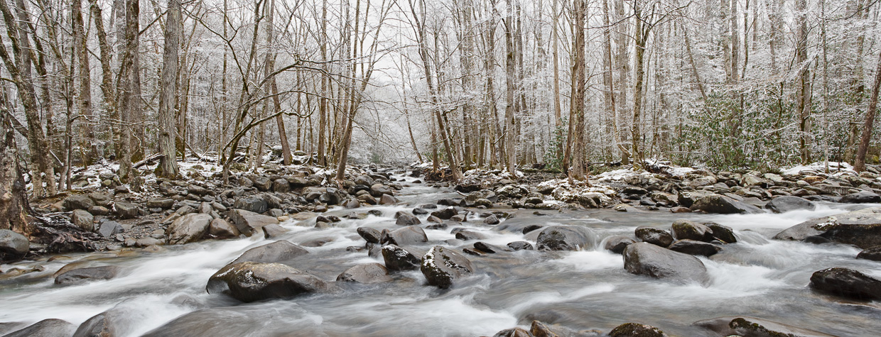 Smoky Mountain creek in winter