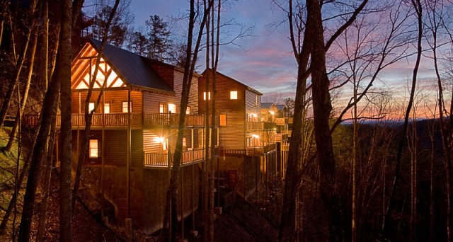 Dawn comes to the log cabin resort