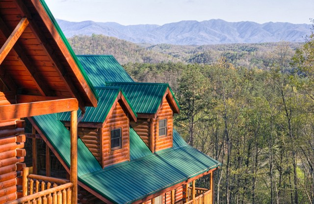 Cabins line up for a Smoky Mountain View