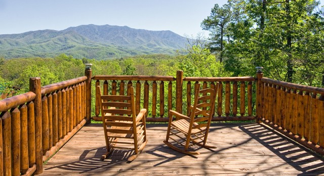 Deck chairs offer relaxation and a view of the Smoky Mountains