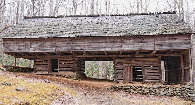 Cantilever barn in the Smoky Mountains