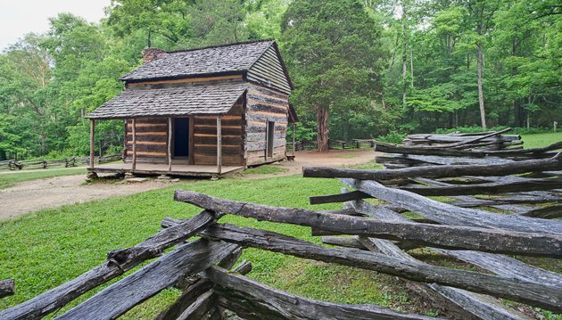 John Oliver Cabin and Split Rail Fence © William Britten use with permission only