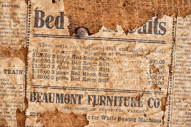 Old newspaper wallcovering © William Britten use with permission only