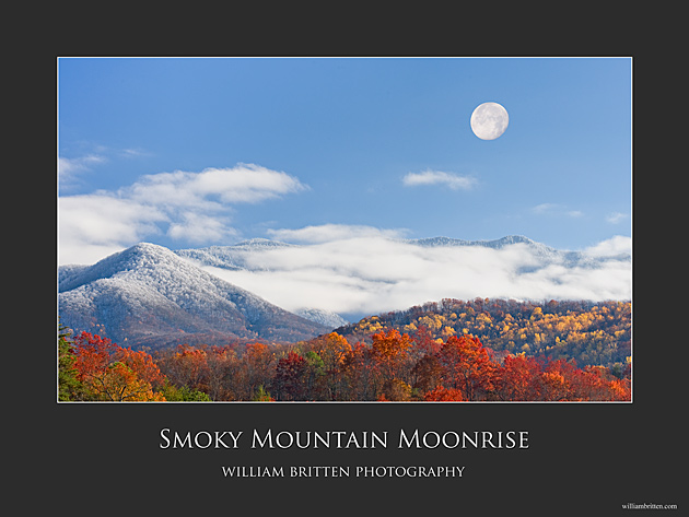 Smoky Mountain Moonrise Poster © William Britten use with permission only