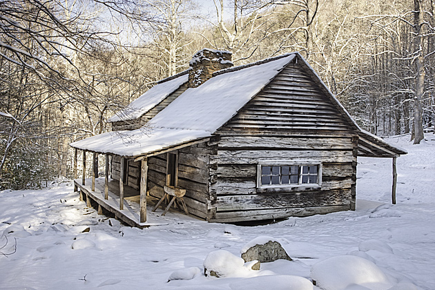 Bud Ogle Cabin in Winter © William Britten use with permission only
