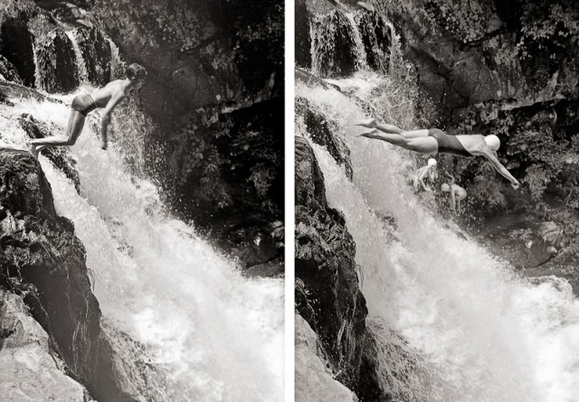 Diving off of Abrams Falls 1941