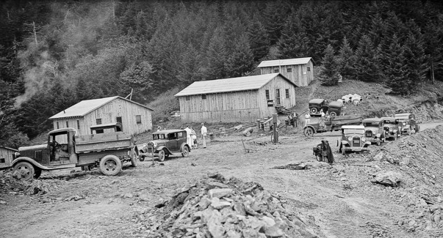 Road construction at Indian Gap, 1934