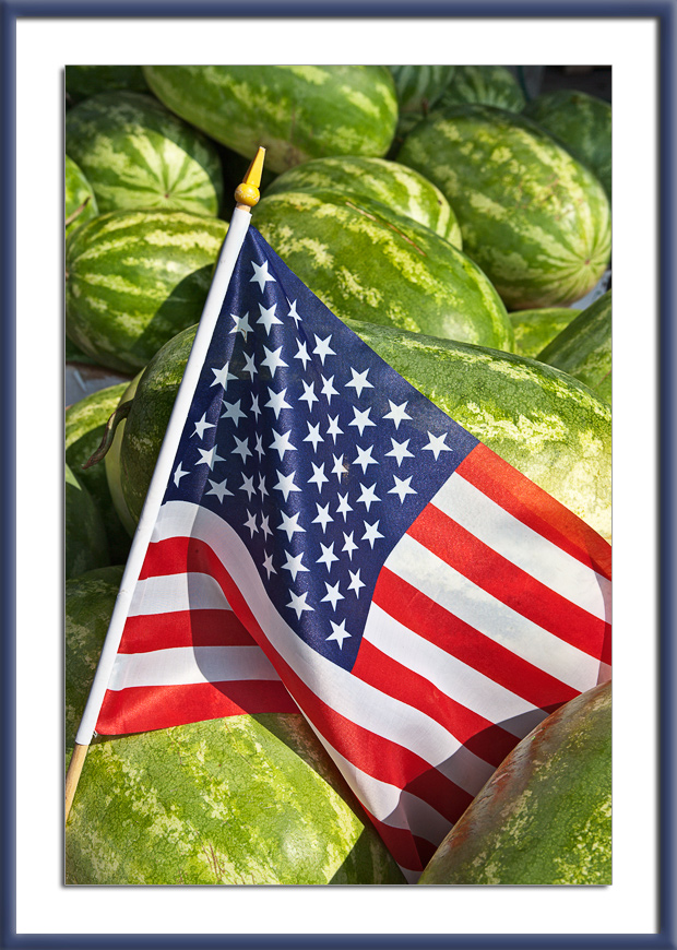 Flag and watermelons on 4th of July