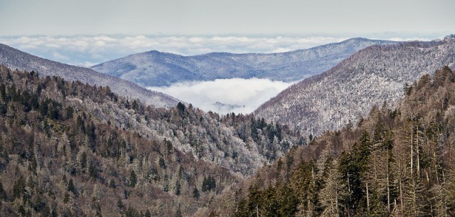 Morton Overlook with Light Snow and Mist