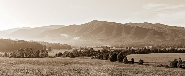 Cades Cove panorama in toned monochrome