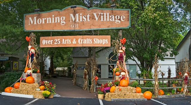 Morning Mist Village Autumn Decor