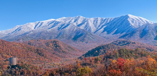 Smoky Mountains with Snow above Gatlinburg